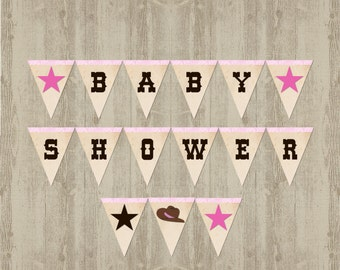 Cowgirl Baby Shower Banner