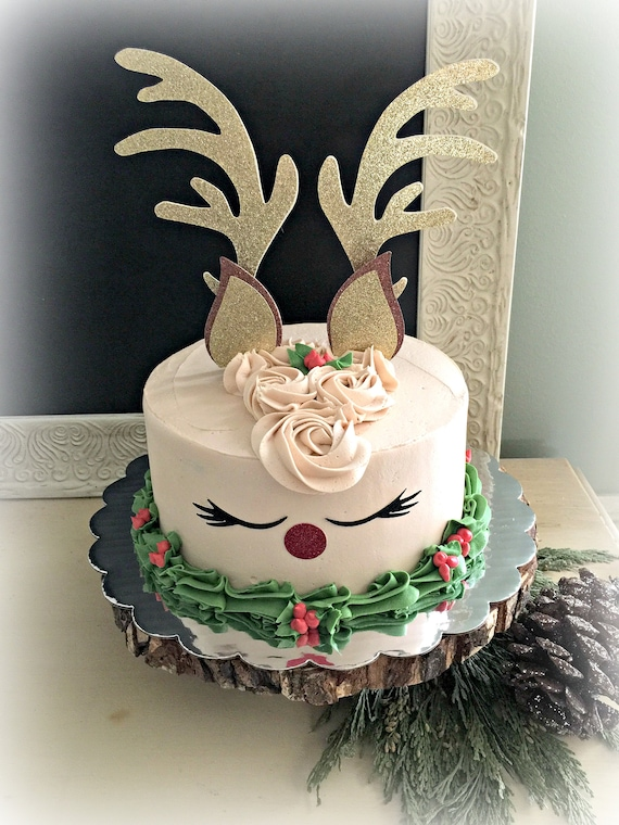 Christmas Cake Toppers.Reindeer Cake Topper Christmas Cake Toppers Holiday Cake Topper Rudolf Gold Cake Topper Christmas Cake Decorations