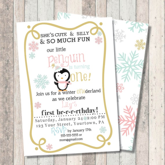 "Winter Penguin First Birthday Invitation - Winter Wonderland ""One""derland - Snowflake Print Back - Mint - Pink - Gold"