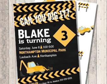 Construction Birthday Invitation - Optional Construction Print Back