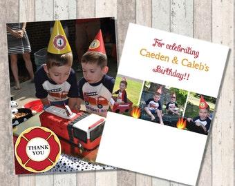 Firetruck Birthday Photo Thank you