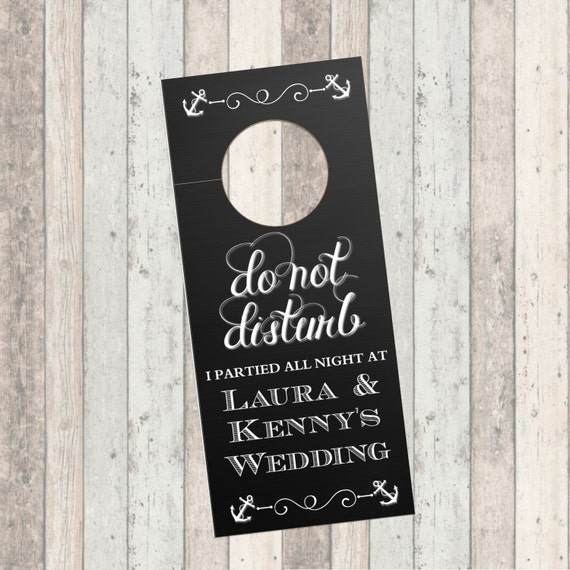Wedding Hotel Door Hanger Sign - Chalkboard - Anchor