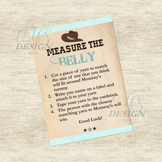 Baby Shower Game: Measure the Belly - Cowboy Theme