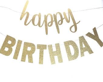 Happy Birthday Banner – First Birthday Theme Party – Script Happy Birthday Banner –  Birthday Décor – Birthday Party Decor