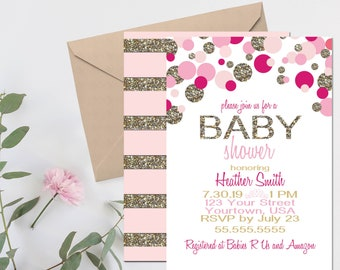 Pink and Gold Baby Shower Invitation – Pink and Gold Theme - Princess Theme Party –  Girl Baby Shower Décor – Pink Baby Shower Invite