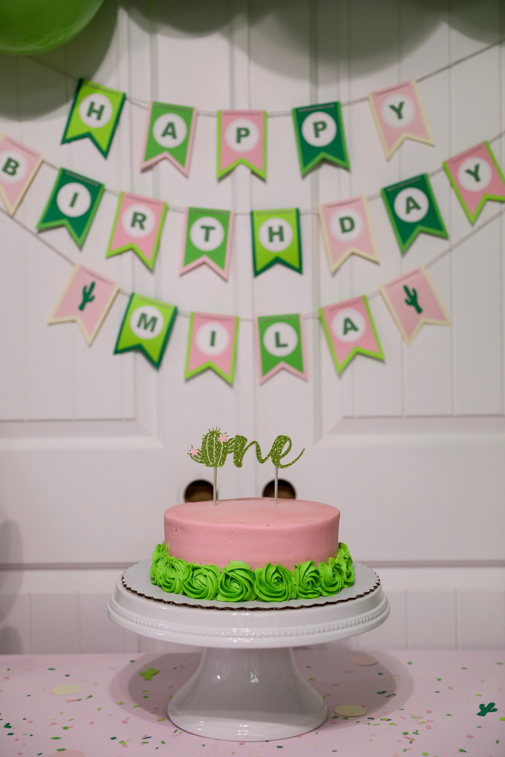 Succulent Cake Topper Cactus First Birthday For Smash Cake