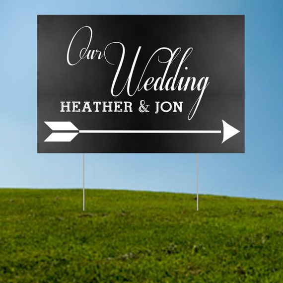 Wedding Directional Yard Sign Image - Customizable