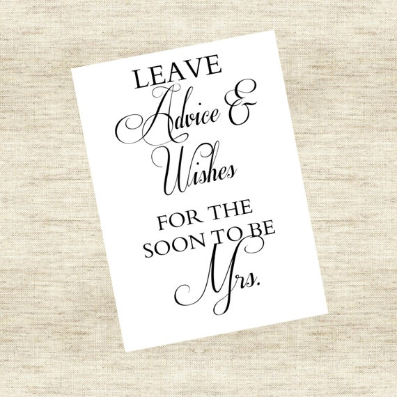 "Bridal Shower Advice Sign - ""Leave advice and wishes for the soon to be Mrs."""