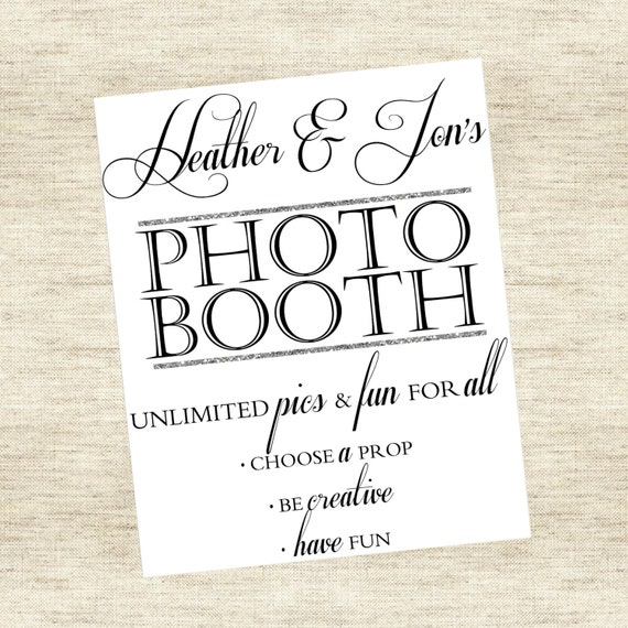 Photo Booth Sign - Custom Colors & Wording