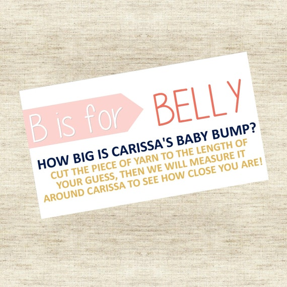 B is for Belly, Belly Measuring Game, Belly Game, Baby Belly Game, Baby Shower Game, Download