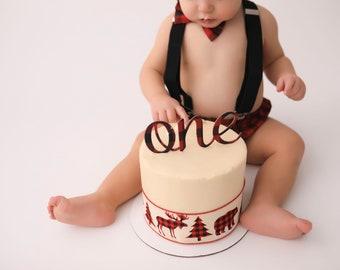 Red Buffalo Plaid Cake Topper, birthday cake toppers, First Birthday cake topper, Smash Cake, one cake topper, birthday cake decorations