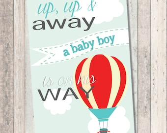 Up Up and Away Art - Dream Big Baby Shower- Hot Air Balloon - welcome sign