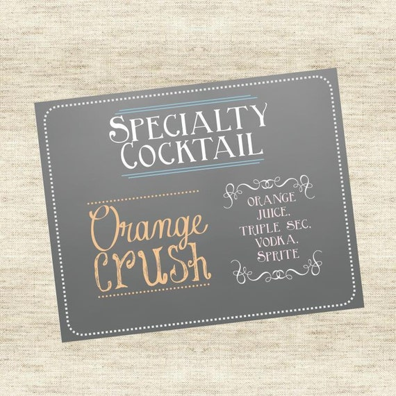 Specialty Drink - Signature Drink Sign - Grey Chalkboard