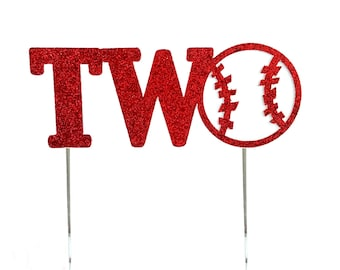 Baseball Two Red Cake Topper, Second 2 2nd birthday cake toppers, Birthday Decorations, Sports Themed, Play Ball