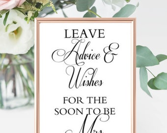 """Bridal Shower Advice Sign - """"Leave advice and wishes for the soon to be Mrs."""""""