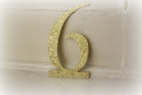 Gold Glitter Table Numbers - Cut Out- Stand Alone- Wedding - Special Event- Numbers 1-20
