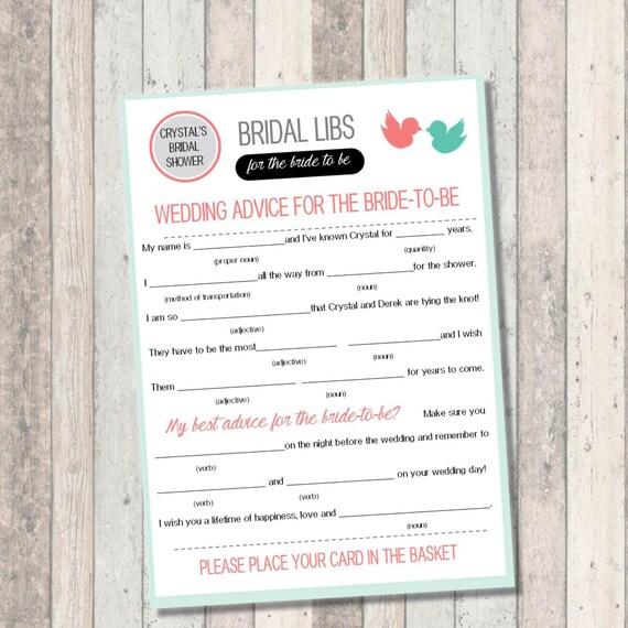 Bridal Shower Game- Mad Libs - Bridal Libs