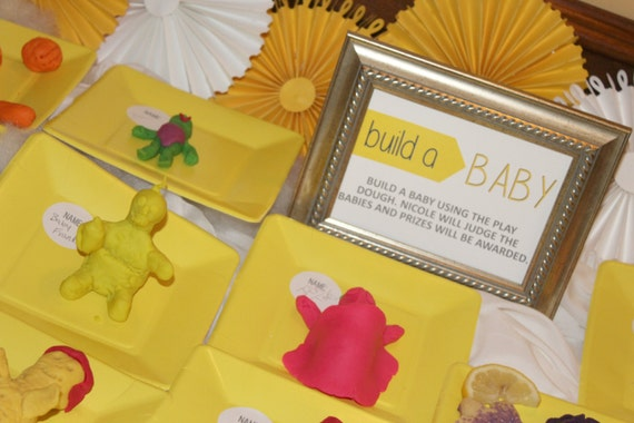 Baby Play Dough - Build A Baby - Baby Shower Game- Play Dough Assembled containers