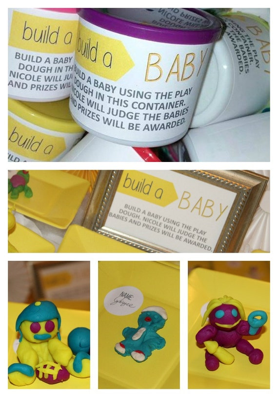 Baby Play Dough - Build A Baby - Baby Shower Game- DIGITAL FILE