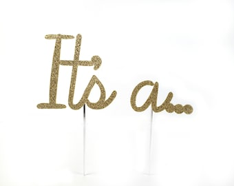 Cake Topper, It's a ... ?, Boy or Girl, Gender Reveal, Baby Shower Decoration, Shower Toppers, Surprise, Cake Decorations, gold glitter
