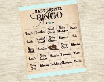 Baby Shower Game: Bingo - Cowboy Theme