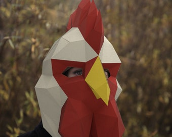 Rooster Paper Chicken Lowpoly Trophy Wall Decoration Instant Pdf Download Mask DIY Template