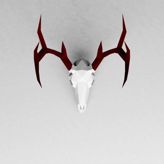 Deer Skull 3D Papercraft Model Downloadable DIY Template