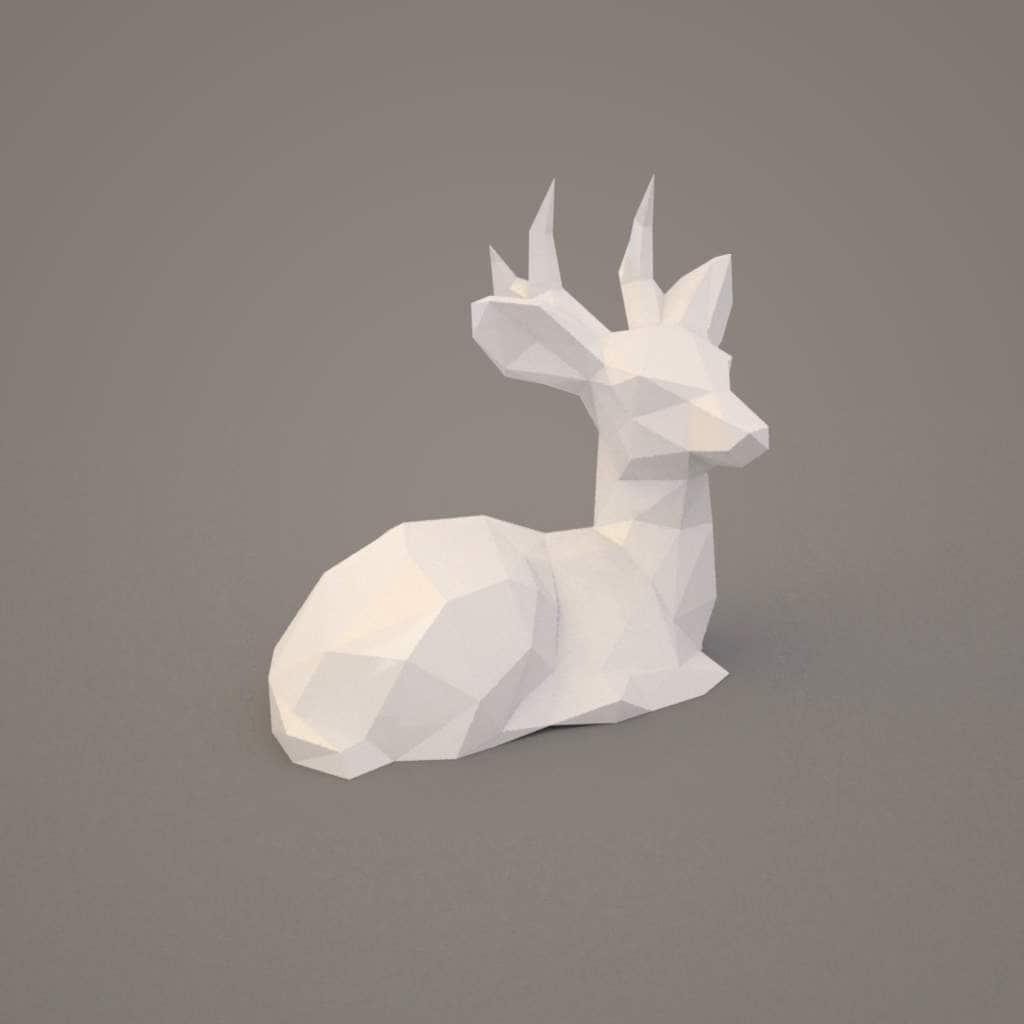 deer dog paper deer lowpoly statue deer papercraft etsy. Black Bedroom Furniture Sets. Home Design Ideas