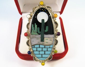 Inlay Gemstone Southwest US Design Ring - 925 Sterling Silver