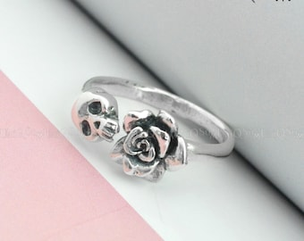 9967c05ddbf611 925 Sterling silver Skull Ring, Rose skull silver ring, Unique Jewelry,  Women Lady adjustable Ring
