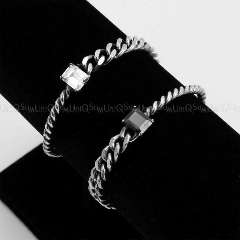 Cubic zirconia Bracelets for Women Ladies Antique 925 sterling silver chain bracelet