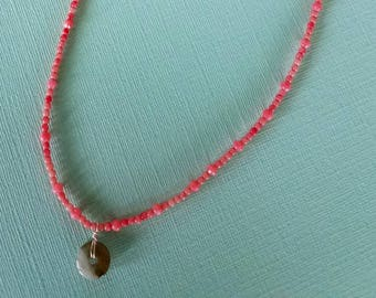 Delicate Pink Coral Beaded Necklace with Jade Life Saver/Dough Nut Pendant.