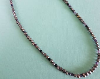 Grey Fresh Water Pearl, Fluorite Beads with a Sterling Silver Chain. 40 inches long.