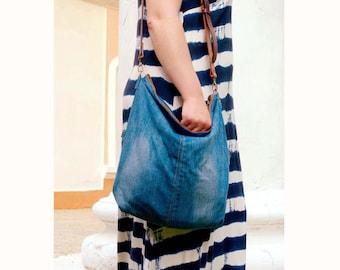 Zipped Fold over Crossbody Denim Hobo Bag, Adjustable Vintage Leather Belt, Transformer, Tote, Clutch, Upcycled, Eco-friendly