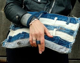 Destressed Denim Bag, Reclaimed Jeans Belt Clutch, Recycled Denim Wristlet, Punk Bag, Zippered Purse, Upcycled Jeans Clutch, Vegan Denim Bag