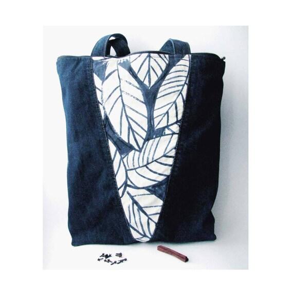 Zero Waste Gift Indigo Denim Bag with Pockets Japanese Indigo Denim Bag Floral Print Eco-friendy Tote Recycled Denim Zip Tote