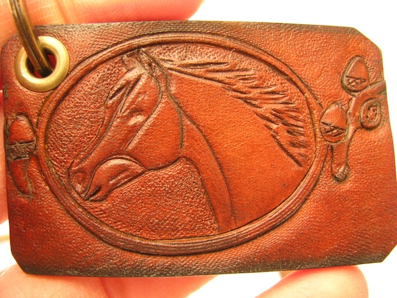 Details about  /handmade Leather keychain lot of 5 cowboy texas horse