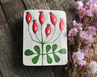 HIP ROSE FLOWER, Relief in oak