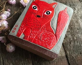 FOX, original RELIEF in WOOD oak