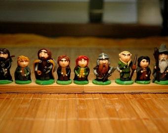 Fellowship of the Ring - 9 figurines Gandalf, Aragorn, Legolas, Gimli, Frodo, Sam, Pippin, Merry, Boromir