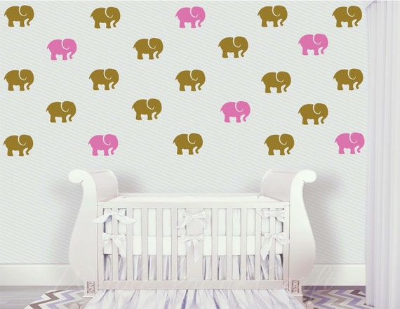 Elephant Wall Decals - Girls Wall Decal - Pink and Gold Elephants - Girls  Bedroom Decor - Nursery Decor - Removable Wall Decal - Jungle