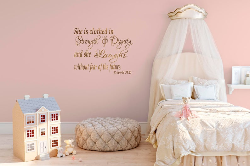 Girls Bedroom Wall Quote - Proverbs 31:25 Wall Decal - Bible Bedroom Wall  Quotes - Girls Bible Quotes - Wall Decal Quotations