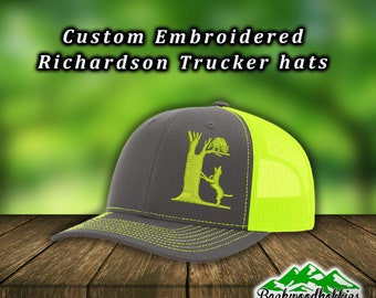 66e07ac69c7 Embroidered Richardson 112 hats Dog treeing a coon Hunting hat Custom hats  welcome wholesale embroidered hats