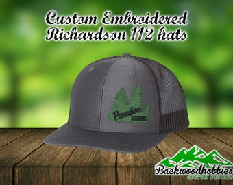 ec43dfd427b Custom embroidered Richardson 112 snapback hats with Parsdise Strong in  lower corner.