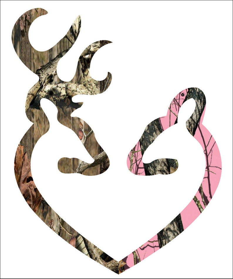 Browning Style Camo And Pink Camo Love Heart Shaped Deer Buck Etsy