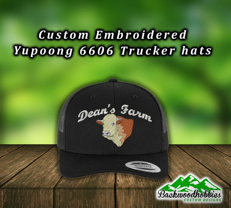 2f137184a4426 Embroidered Yupoong 6606 trucker hats with cow and farm name