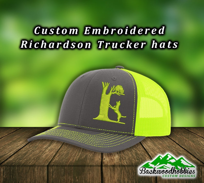Embroidered Richardson 112 snapbacks & 110 flexfit fitted hats Dog treeing  a coon Hunting hat Custom hats welcome wholesale embroidered hats
