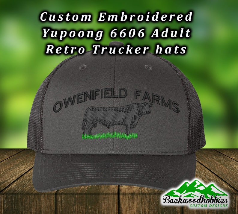 d52e2e335 Embroidered Yupoong 6606 trucker hats with black angus bull, Custom hats  welcome wholesale embroidered hats
