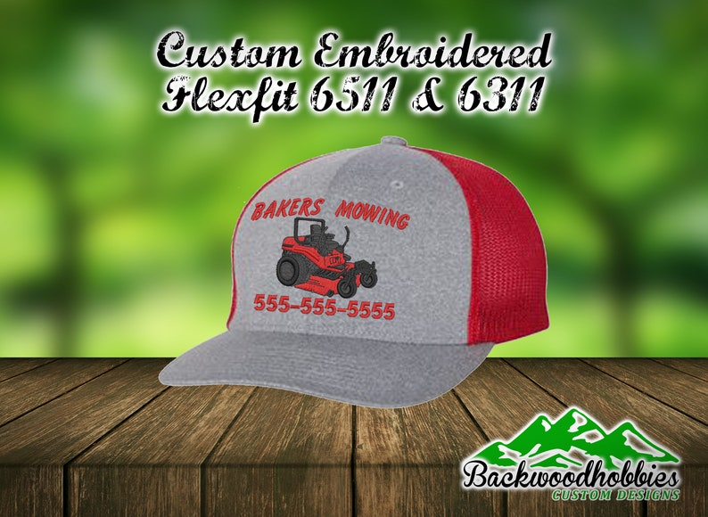 3ded477fc90d2 Embroidered Flexfit Hats with Zero turn mower and your