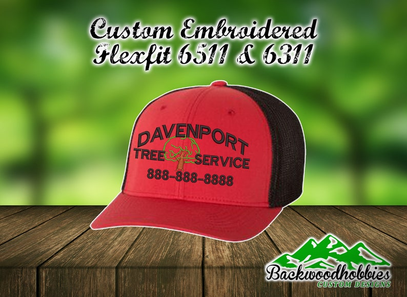 86949686c9d Embroidered Flexfit Hats with tree logo and your company s